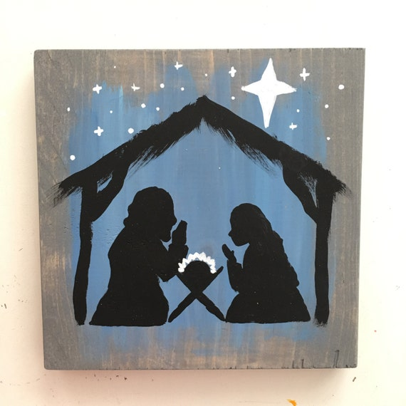 Hand Painted Nativity Art - Manger Scene Art - Christmas Art