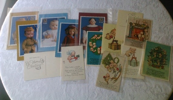 14 DOLL POSTCARDS Vintage Collection, Kewpie, Postage Stamp, Christmas