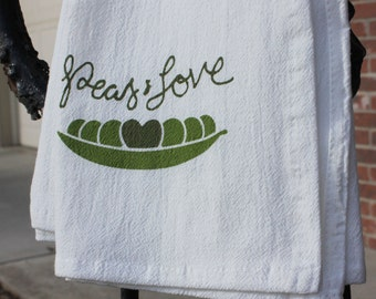 Set of 2 Kitchen Towels: Peas and Love/Peas and Hoppiness