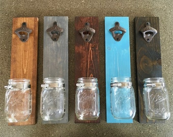 Wall Mounted Bottle Opener, Mason Jar Decor, Beer Bottle Opener, Groomsman Gifts, Party Decor, Man Cave Decor, Fathers Day Gifts