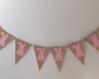 Pink burlap bunny banner