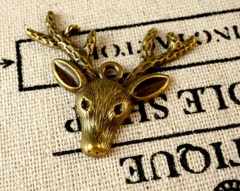 Stag head 3 charms bronze vintage style pendant charm jewellery supplies C36
