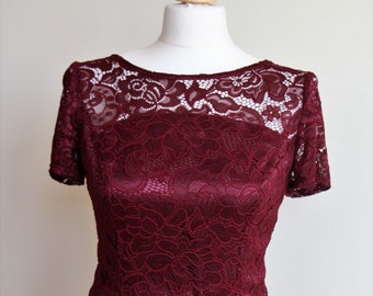 Long Bridesmaid Dress with Lace Bodice Burgundy lace dress Marsala long dress Long burgundy lace dress Long bridesmaid dress Prom dress