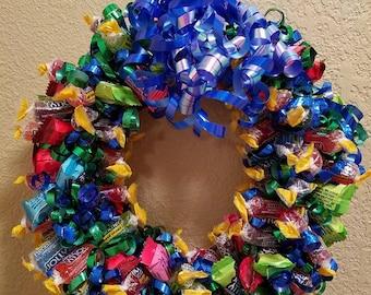 Blue December~ Jolly Rancher Sweet Wreath Candy Wreath