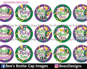 Mardi Gras Cutie- INSTANT DOWNLOAD- 1 inch Bottle Cap Images