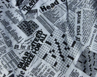 That's news to me - Newspaper print cotton flannel fabric