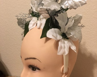 Silver Holiday Headdress Snow Queen Princess Cosplay White Poinsettias Women's