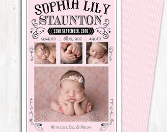 Photo Birth Announcement | Baby Birth Announcement | A6 | Double Sided | Card stock 350gsm | Girl | Printed Announcement | Newborn Baby