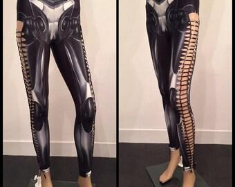 Shredded And Braided Robotic Biomechanical Bones Skeleton Handmade Leggings Custom Slashed Metal Punk