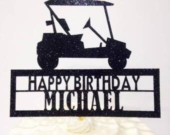 Golfer Cake Topper / Golf Cart / Golf Birthday Cake Topper