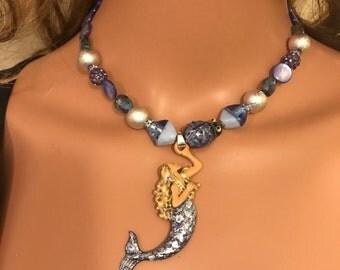Denim lady bug mermaid chocker necklace
