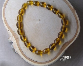 B1247  Amber glass Beaded Bracelet.
