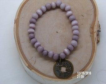 N1286 Small light Brown Wooden Handmade Bracelet With Chinese coin.