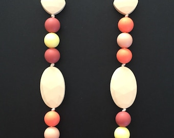 Beaded necklace - teething / sensory silicone beads