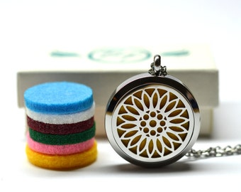 Sunflower Stainless Steel Essential Oil Diffuser Necklace // Aromatherapy Necklace // - With Choice of Essential Oil