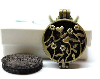 Garden Flower Lava Stone Essential Oil Diffuser Necklace // Aromatherapy Necklace // - With Choice of Essential Oil