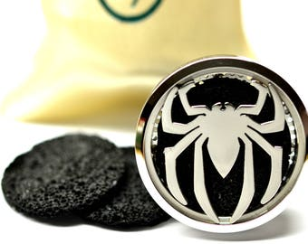 Essential Oil Car Diffuser Accessory // Super Hero Stainless Steel 38MM // With 3 Lava Stone Diffusers / & Choice of 2ML Essential Oil