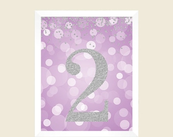 Lavender Silver Glitter, Birthday Print, 2nd Birthday Party Sign, Number 2, 2nd Birthday Party, Second Birthday, Printable Party Decorations