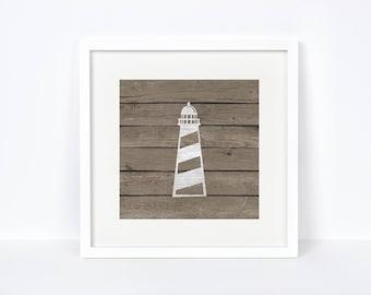 Nursery Baby Lighthouse Print - Baby Room Nautical Wall Art - Bathroom Nautical Print - Lake House Decorations - Beach House Wall Print