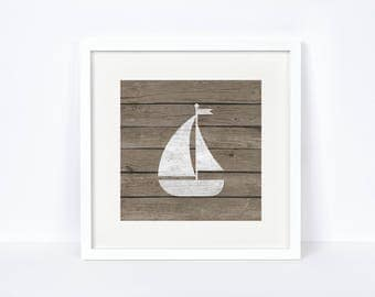 Baby Room Nautical Wall Art - Baby Girl Gifts - Weathered Wood Wall Art - Reclaimed Wood Print - Unique Baby Gift - Sailboat Printable -