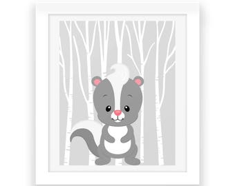 Baby Boy Woodland Nursery Print - Woodland Nursery Download - Nursery Decor - Baby Room Wall Art - Nursery Wall Art - Woodland Animals