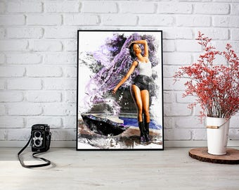 Rihanna watercolor Print, Rihanna Poster, Rihanna Printable, Celebrity Singer, Rihanna Wall Art, Rihanna Art, Abstract Illustration, B-032