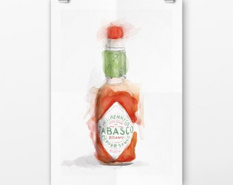 Tabasco Kitchen sign, art print, housewarming gift , Tabasco wall decor, food art print, printable , kitchen art, digital download,