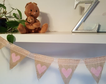 Burlap and lace buntings