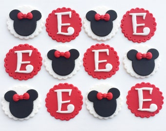 Minnie mouse cupcake toppers (red)
