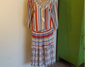 1980's Designer Diane Freis Boho Drop Waist multi-color striped Maxi Dress. Size Medium.