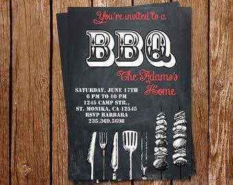 BBQ Party Invitation, Barbecue Invitation, Barbecue Party Inviteations, Printable BBQ Invitation, Printed BBQ Invites, Backyard Party Invite