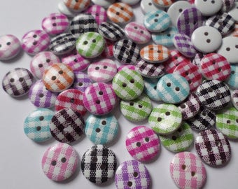15mm Gingham buttons, Wooden buttons, Buttons, Craft buttons, Sewing buttons, Scrapbooking, Gingham, Checkered, Gingham check