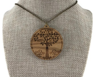 Wood Necklace - Inspirational Necklace - Inspirational Quote - Rustic Wooden Pendant - Large Medallion - Quotation Jewelry