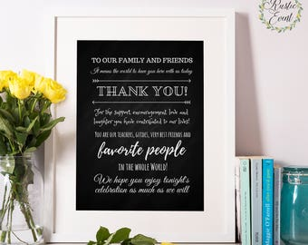 Wedding Thank You Sign / Printable Thank You Sign / To our Family and Friends / Chalkboard wedding Printable sign / INSTANT DOWNLOAD