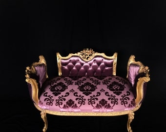 French Settee with back - ornately hand carved - gold leaf finish