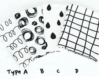 Scandinavian fabric/circle black white fabric/dote fabric/drawing fabric/dot line fabric/rain drop fabric/modern fabric/bedding cushion diy