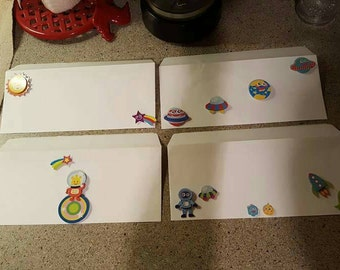 4 Decorative Cute Space and Rocket Themed Sticker Envelopes