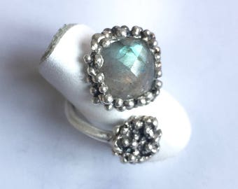 double darkened sterling silver ring with labradorite stone