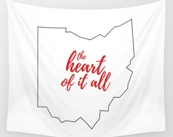 Ohio Wall Decor, Ohio State Outline, The Heart Of It All, State Slogans, State Mottos, White and Red, Outdoor Decor, State of Ohio