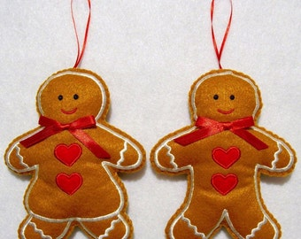 """Hand cradfed 5"""" embroidered felt Gingerbread boy and girl Christmas ornament pair"""