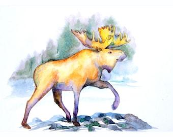 1+1=3! Print Watercolor moose painting, watercolor moose painting, moose, moose painting print, animal watercolor, animal painting