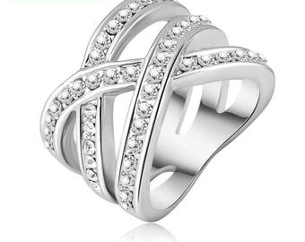 Austrian Crystal platinum plated ring
