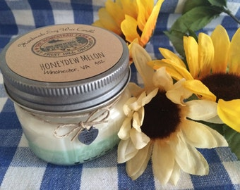 Honeydew Melon Soy Wax Candle 4oz Homemade Highly Scented Mason Jar 4oz Homestead Farm Gift Country Primitive Eco Friendly Natural