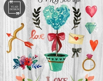 15 Watercolor Love Elements Valentine's Clipart Love Clipart Digital Wedding Elements Cute Love graphics Fall in love clipart Romantic clip