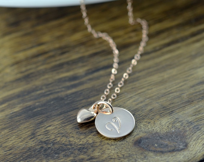 Rose Gold Heart Necklace -Personalized Initial Necklace - Personalized Hand Stamped Necklace - Valentines Day Gift - Rose Gold Jewelry