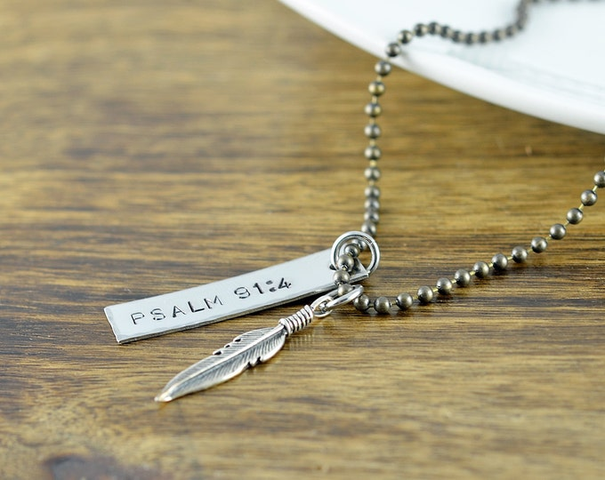 Gift For Men, Mens Hand Stamped Gift, Personalized Necklace, Psalm 91, Feather Necklace, Hand Stamped Jewelry, Boyfriend Gift