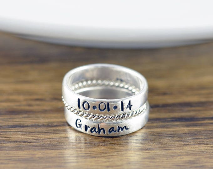 Stacking Rings - Mothers Ring - Stackable Name Rings - Gift for Mom - Personalized Stacking Ring - Mothers Jewelry - Mothers Ring