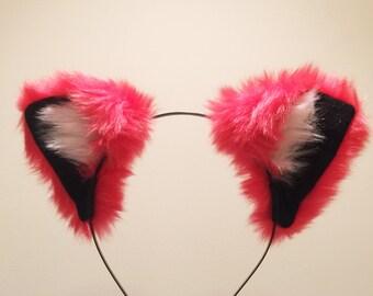 Cat ears Kitty Headwear Cherry Red Furry Animal Headband Costume Bow Bells