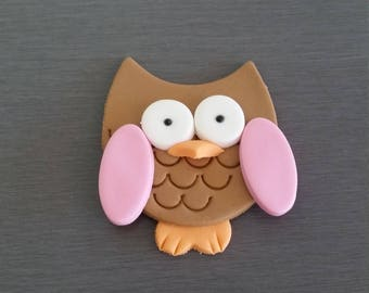 6 x Owl Cupcake Toppers,  Edible fondant Owl topper, owl decorations, owl cake decorations