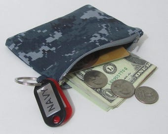 US Navy digital camo twill fabric zippered coin purse